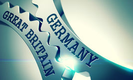 Germany Great Britain - Message on the Mechanism of Shiny Metal Stock Photos