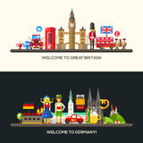 Germany, Great Britain travel banners set with famous French symbols Royalty Free Stock Image