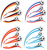 Germany, greece, france, spain flag set. With soccer ball vector illustration