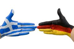 Germany and greece giving hands Stock Image