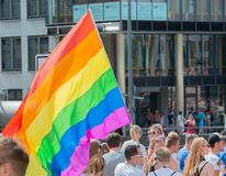 Germany, Hamburg - August 4, 2018: Christopher street day. Love parade in Hamburg.  royalty free stock image