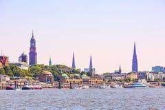 Germany, Hamburg skyline and river Elbe royalty free stock photos