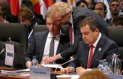 germany Hamburg Grudzień 9th 2016: Niemiecki ministra spraw zagranicznych Dr Frank-Walter Steinmeier przy Końcową sesją 23rd OSCE Zdjęcie Royalty Free