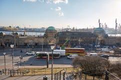 Germany. Port of Hamburg on the river Elbe. February 13, 2018 stock photos