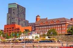 Germany, Hamburg skyline and river Elbe royalty free stock photography