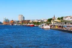 Germany, Hamburg skyline and river Elbe royalty free stock image