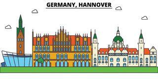 Germany, Hannover. City skyline architecture . Editable Royalty Free Stock Images