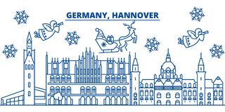 Germany, Hannover winter city skyline. Merry Christmas, Happy New. Year decorated banner with Santa Claus.Winter greeting line card.Flat, outline vector. Linear Stock Image