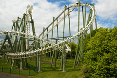 Germany.Heide Park Resort. You can see a fragment of roller coaster Big Loop.Photo was taken in May 2015 Royalty Free Stock Photos