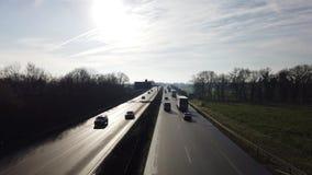 Germany - Highway A57 - motorway between Moers Kapellen and cross Moers.  stock video footage