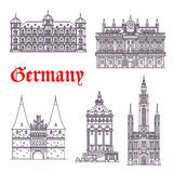 Germany historic buildings architecture vector icons Stock Photo