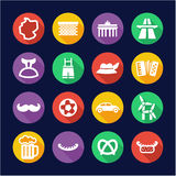 Germany Icons Flat Design Circle Stock Image