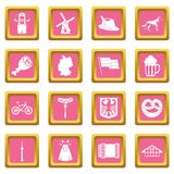Germany icons pink Stock Photo