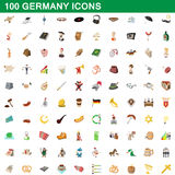 100 germany icons set, cartoon style. 100 germany icons set in cartoon style for any design vector illustration Stock Photos