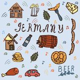 Germany icons set IN DOODLE STYLE . royalty free illustration