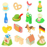 Germany icons set, isometric 3d style Royalty Free Stock Images