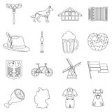 Germany icons set, outline style Royalty Free Stock Photo