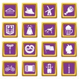 Germany icons set purple Stock Image
