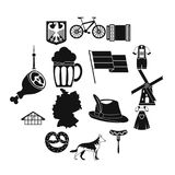 Germany icons set, simple style. Germany icons set. Simple illustration of 16 Germany travel items vector icons for web Royalty Free Stock Photos
