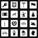 Germany icons set squares vector Royalty Free Stock Image