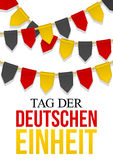 Germany Independence Day background. Text German Unity Day. Bunting decoration in colors of national flag. Garlands, pennants on a rope for celebration vector illustration
