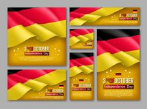 Germany independence day vector set. Germany independence day celebration posters set. 3th of October felicitation greeting vector illustration. Realistic stock illustration