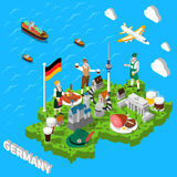 Germany Isometric Sightseeing Map For Tourists Stock Image