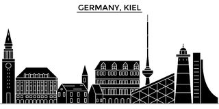 Germany, Kiel architecture vector city skyline, travel cityscape with landmarks, buildings, isolated sights on Stock Images
