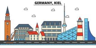 Germany, Kiel. City skyline architecture . Editable Stock Photo