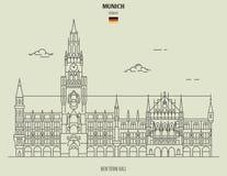 germany korridormunich ny town Gränsmärkesymbol royaltyfria bilder
