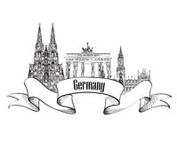 Germany label. Travel German cities symbol. Famous german archit Royalty Free Stock Photo