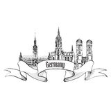 Germany label. Travel German cities symbol. Famous german archit Royalty Free Stock Photos