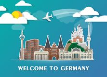Germany Landmark Global Travel And Journey paper background. Vec. Tor Design Template.used for your advertisement, book, banner, template, travel business or Royalty Free Stock Photo