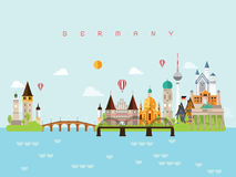 Germany Landmarks Travel and Journey Vector royalty free illustration