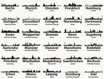 Germany largest cities skylines silhouettes vector set. Germany largest cities skylines silhouettes vector collection vector illustration