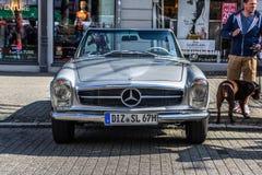 GERMANY, LIMBURG - APR 2017: silver MERCEDES-BENZ W113 230 250 280 SL CABRIO 1963 in Limburg an der Lahn, Hesse, Germany.  royalty free stock photography