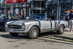 GERMANY, LIMBURG - APR 2017: silver MERCEDES-BENZ W113 230 250 280 SL CABRIO 1963 in Limburg an der Lahn, Hesse, Germany.  royalty free stock image