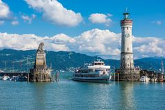 Lighthouse of Lindau at lake Constance, Bodensee Stock Photos