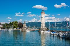 Lighthouse of Lindau at lake Constance, Bodensee Royalty Free Stock Photos