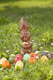 Germany, Lower Bavaria, Variety of Easter eggs on grass Royalty Free Stock Image