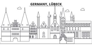 Germany, Lubeck line skyline vector illustration. Germany, Lubeck linear cityscape with famous landmarks, city sights Royalty Free Stock Photos