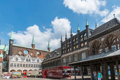 Germany, Luebeck, June 19, 2017, Town Hall Square in Luebeck Royalty Free Stock Photos