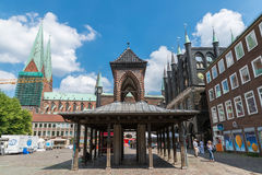 Germany, Luebeck, June 19, 2017, Town Hall Square in Luebeck Stock Images