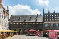 Germany, Luebeck, June 19, 2017, Town Hall Square in Luebeck Royalty Free Stock Image