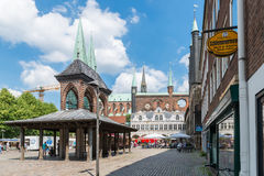 Germany, Luebeck, June 19, 2017, Town Hall Square in Luebeck Stock Photography