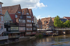 Germany, Lueneburg, River Ilmenau, Stintmarket. Riverside Stintmaket in Lueneburg, Germany stock photography