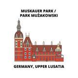 Germany, Lusatia, Park Muzakowski line icon, vector illustration. Germany, Lusatia, Park Muzakowski flat concept sign. Royalty Free Illustration