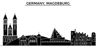 Germany, Magdeburg architecture vector city skyline, travel cityscape with landmarks, buildings, isolated sights on Royalty Free Stock Photos