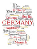 Germany map. Germany - outline map made of city names. German concept royalty free illustration