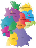 Germany map. Designed in illustration with the regions colored in bright colors and with the main cities vector illustration